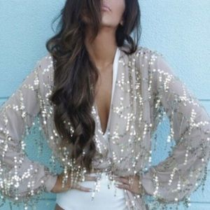 Sequin tie top